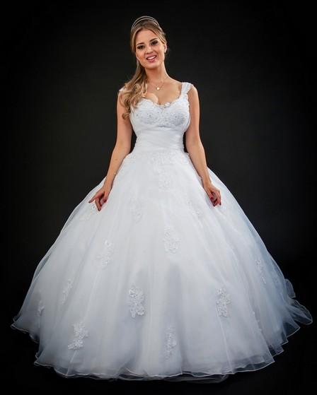 Aluguel de Vestido de Noiva Brilhante Água Branca - Vestido de Noiva