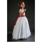 aluguel de vestidos de daminhas branco Cambuci