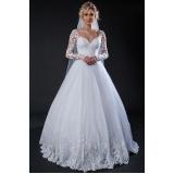 vestido de noiva com manga preço Campo Grande