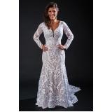 vestido de noiva com renda Vila Marisa Mazzei