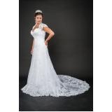 vestido de noiva de renda preço Vila Dalila