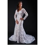 vestido de noiva de renda Bom Retiro