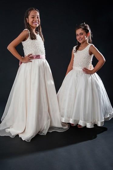 Vestido de Daminha para Casamento Parada Inglesa - Vestidos de Daminhas Branco