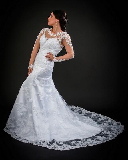 Vestido de Noiva Brilhante Preço Brás - Vestido de Noiva Sereia
