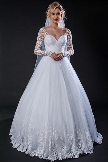 Vestido de Noiva com Manga Preço Centro - Vestido de Noiva Princesa