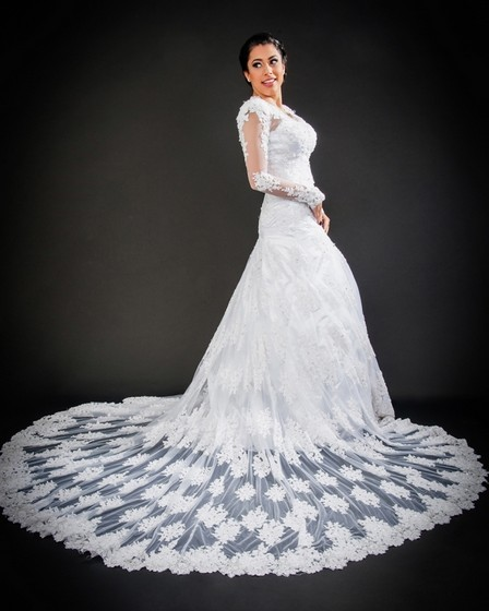 Vestido de Noiva com Manga Vila Dalila - Vestido de Noiva