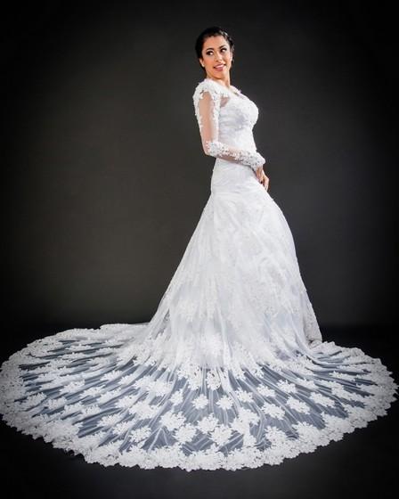 Vestido de Noiva com Manga Jardim Guarapiranga - Vestido de Noiva com Renda