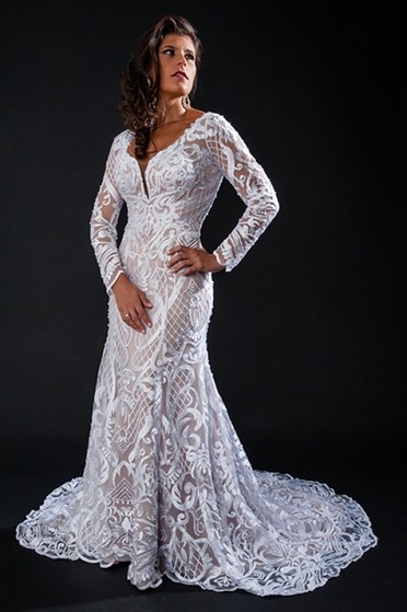 Vestido de Noiva de Renda Bom Retiro - Vestido de Noiva com Renda