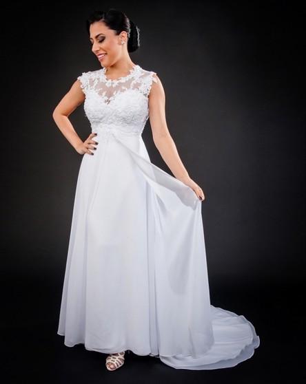 Vestido de Noiva Simples Parque São Jorge - Vestido de Noiva com Manga