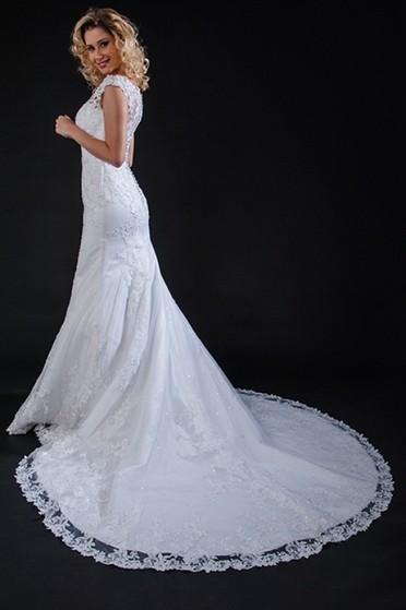 Vestidos de Noiva Brilhante Vila Marisa Mazzei - Vestido de Noiva Simples