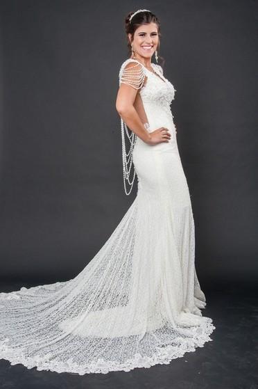 Vestidos de Noiva de Renda Campo Grande - Vestido de Noiva com Manga